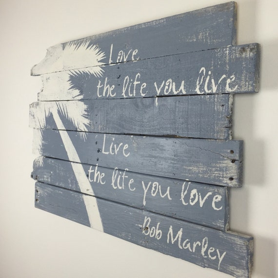 Beach Decor Bob Marley Palm Tree And Love The By WoodburyCreek