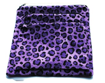 Reusable Sandwich Snack Bags set of 3 Zipper Purple Cheetah