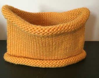 Womens Cowl, Winter Accessories, Womens Neck Warmer, Mustard, Yellow, Reversible, Holiday Gift, Knit, Crochet, OOAK