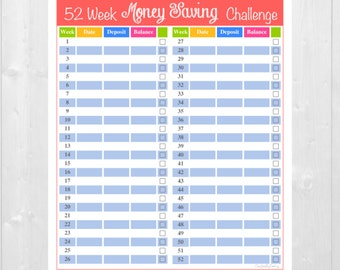 52 Week Money Saving Challenge Sticker - Erin Condren Vertical and Horizontal Planners and More