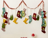 Christmas Stocking Advent Calendar - Felt Advent Calendar - Christmas Garland - Felt Garland - Christmas Decor - Home Decor