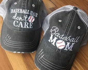 Hats { Baseball hair don't care } { Baseball mom }  3 styles for baseball mom.