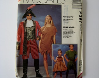 McCalls 6218 Sewing Pattern Peter Pan Costume Captain Hook Tinkerbell Halloween Unisex Adult Chest Size 36 38 UNCUT