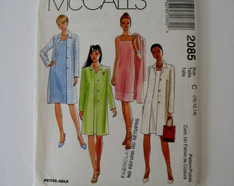 McCalls 2085 Sewing Pattern Jacket Sleeveless Sheath Square Neck Dress Long Lined Jacket Size 10 12 14 UNCUT