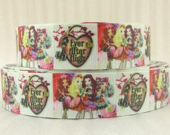 """By The Yard 1"""" New Ever After High Grosgrain Ribbon Great for Hair Bows Scrapbooking Lanyards Lisa"""