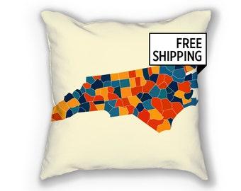 North Carolina Map Pillow - NC Map Pillow 18x18
