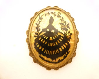 Reverse Painted With Clear Celluloid Cover Victorian Woman Silhouette Brooch