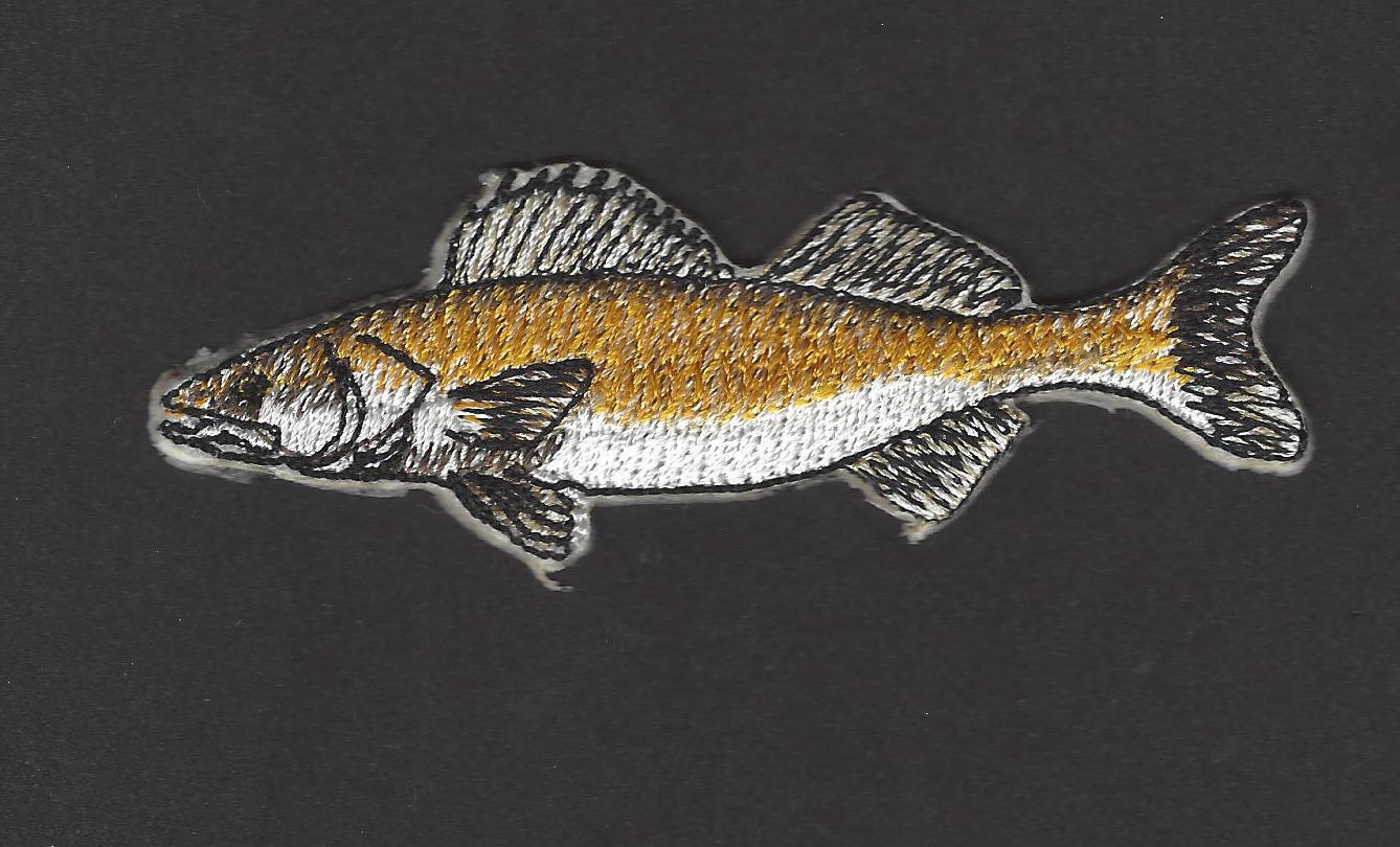 Walleye fish embroidered iron on applique patch for Iron in fish