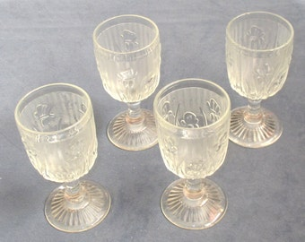Set of 4 Iris Wine glasses Jeannette Glass Co