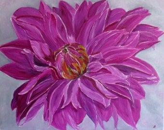dahlia painting, pink dahlia, flower painting,original art, oil painting, fine art