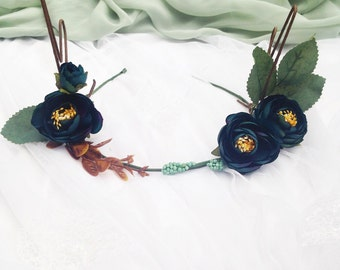 Woodland Blue Pansy Rose Flower  Deer Antlers Hair Wreath Festival Crown Head Band Dress up Deer
