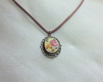 Pink Pleasure -Broken China Necklace