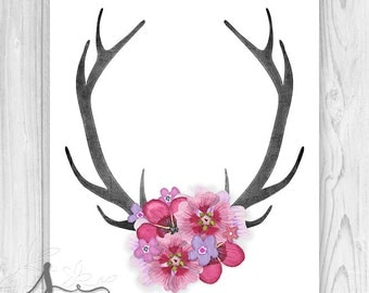 Boho Deer Antlers, Deer Head Antlers, Deer Horn, Antler art, Home Decor, Antler Wall Art, Boho Antlers with Flowers Wall Art Print