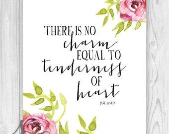 Tenderness of Heart Jane Austen Quote, Jane Austen Typography Print, Book Lover Wall Art, Typography Art, Wall Art, Jane Austen Home Decor