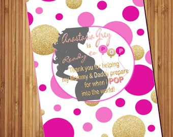 Baby Shower Favors- Ready to POP Pink gold Baby shower Bridal shower printable popcorn wrapper