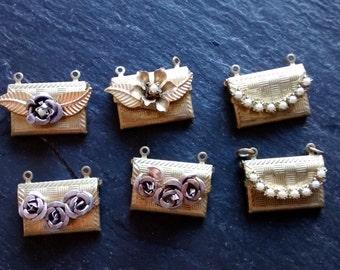 SUMMER SALE 6 secret love note envelope lockets vintage embellished brass locket charm pendant DIY Back to School Bff necklace birthday gift