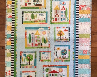 Happy world baby quilt, Quilt Art, wall hanging, home decor, fabric art