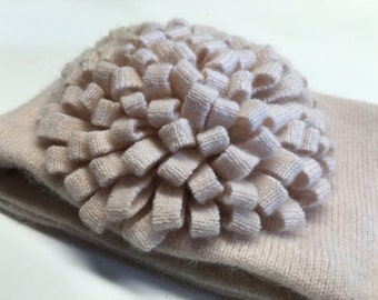 Upcycled Blush Pink Cashmere Earwarmer Headband with Flower