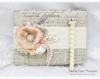 Wedding Lace Guest Book  Pen Set Custom Bridal Flower Brooch Guest Books Birthday Book in Champagne, Pink and Ivory