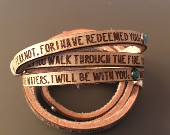 I have redeemed you... Isaiah 43: 1-2 Daily Reminder Leather triple wrap bracelet.  Sympathy gift, encouragement gift, gifts for her