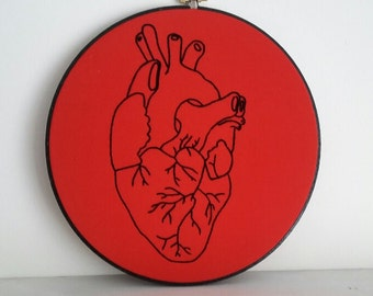 black heart - embroidery hoop art - red and black anatomical heart