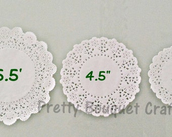 """WHITE French Lace Paper Doilies