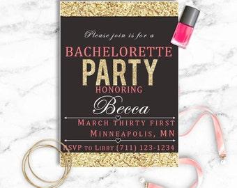 Bachelorette Party Invitation Template - Gold Border
