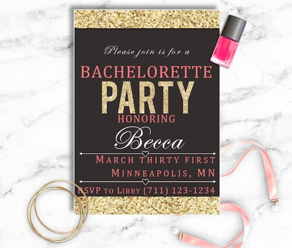 bachelorette party invitation template gold border