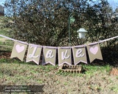 Love Banner - Valentine's Day Banner - Pink and Kraft Banner - Photo Prop - Bridal Shower - Wedding - Engagement - Baby Shower