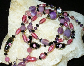 Long Pearl Necklace Rosentraum 93 cm (14) lilac, pink, necklace