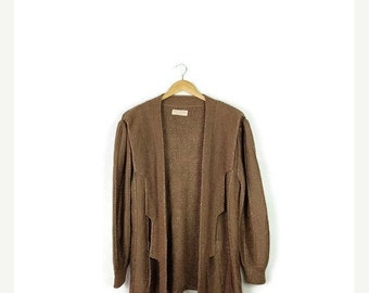 ON SALE Vintage Beige Brown Long Cotton Sweater Cardigan from 1980's*