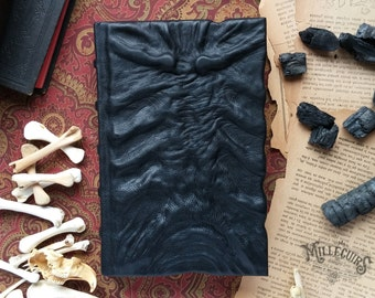 Dark mysterious black leather grimoire, rib horror scary book of shadows, ribcage goth spellbook, sternum creepy handmade journal, christmas