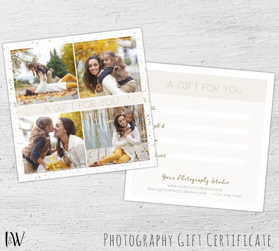 Photography Gift Certificate Template, Photoshop Template for ...
