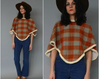 1970s plaid and fringe poncho