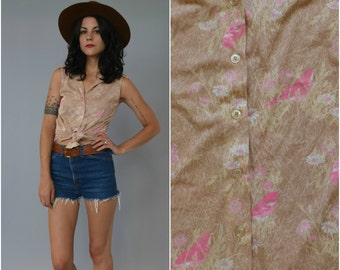 1960s 70s pink and taupe bird printed sleeveless button down top