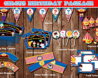 Circus Birthday Theme Party Supplies/ Digial Listing/ Instant Download/ PIY