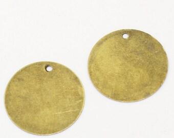 Bronze round logos, blanks for engraving, cutting, diameter = 20 mm