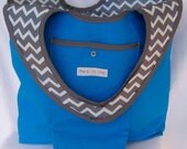 NEW:  Reusable Grocery Shopping Tote Bag in Turquoise - Small