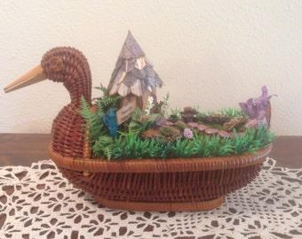 Reduced - Miniature Handmade Fairy Garden in a Wicker Duck Planter