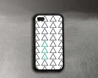 iPhone 4 Case Rubber Sides, iPhone 4s Case Minimalist, Triangles iPhone 4 Case, Black and White iPhone Case 4, iPhone 5c Case