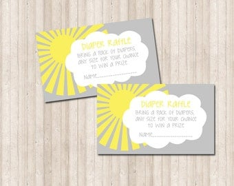 Diaper Raffle Card- You are My Sunshine 3x5