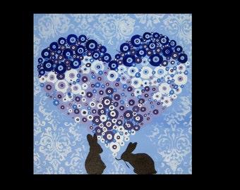"rabbit present, bunny present, painting with rabbits, bunny present, bunny art, painting of a rabbit, rabbit paintings, art, 16"" x 16"""