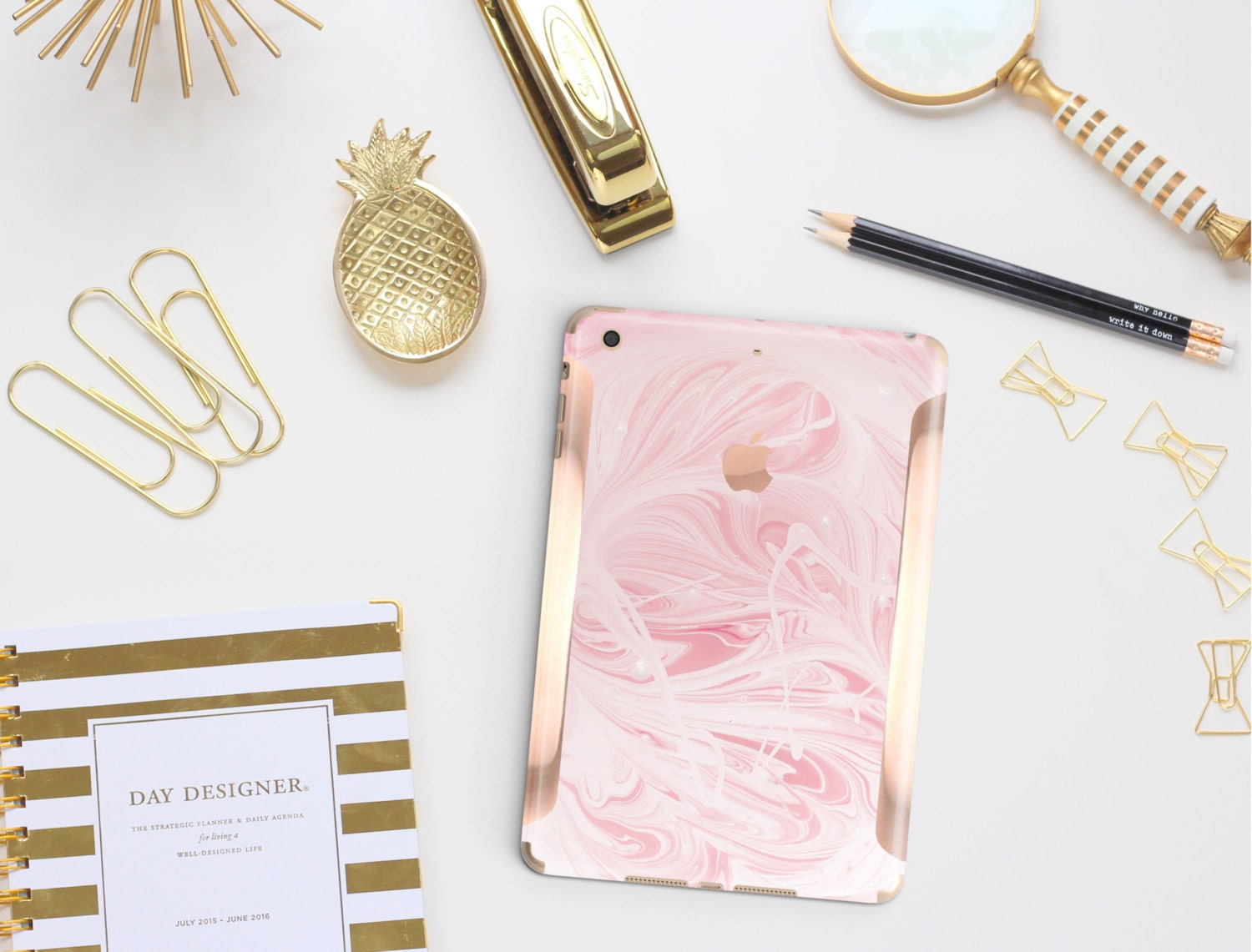 Pink Marble Swirl With Rose Gold Detailing Vinyl Skin For