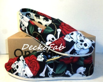 Roses and Skulls Fabric TOMS