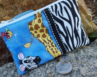 African Animals Coin Purse, Kids Zipper Wallet, Zebra Coin Purse