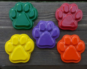 Paw print crayons set of 10 - party favors