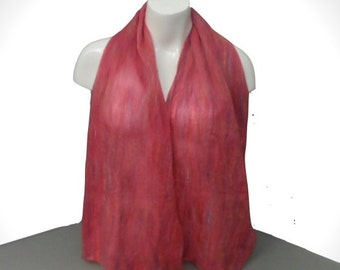 Gift boxed nuno felted scarf in pink and purple