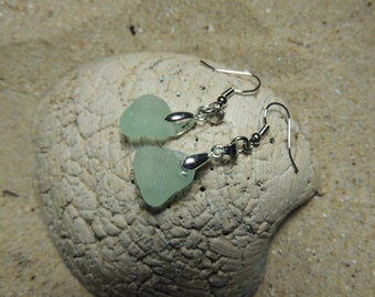 Handmade  Surf Tumbled Natural Aqua Sea Glass Earrings with Silver Accents