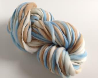 Handspun Thick and Thin Yarn, Merino, 50 yards, Little Boy Blue