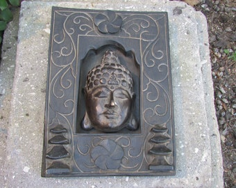 Wooden Carved Buddha Plaque with flowers and pagodas Indonesia Wall Hanging Art